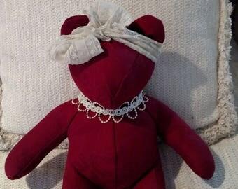 "Red Brocade Bear, Decorator Bear, Homemade Bear, One-of-a-Kind Bear, 13.5"""