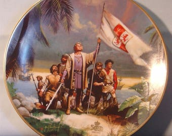"Columbus Discovers America: 500th Anniversary ""Columbus Raises the Flag"" Collector's Plate - NIB"