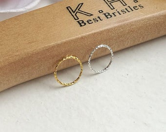 Thin Small Sterling Silver Gold Textured, Twisted, Diamond Cut Cartilage Earring Helix Ring Hoop Tragus Ring Nose Hoop Ring 0.6mm 6mm 8mm