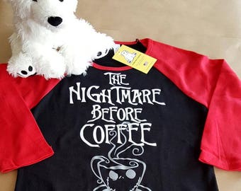 The Nightmare Before Coffee on Ladies Fit 3/4 Sleeve Raglan T-shirt