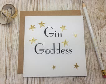 Gin Goddess Card - Card for Gin Lover - Gin Birthday Card - Frienship Gin Card - Gin Goddess Greeting Card
