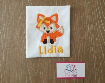 Personalized Baby Girl  Fox - Onsie, Shirt, Burp cloth & Bib  - Appliqued  baby Girl Fox