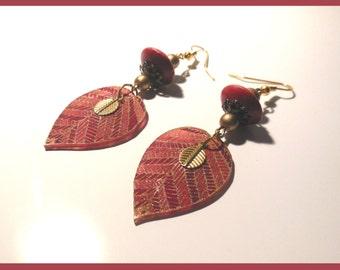 """Earrings """"chic red Herbarium"""""""