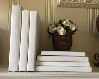 White Painted books White Book Decor Mantle White Books