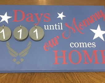 Countdown Deployment Sign for Mommy or Daddy, Army, Marine, Navy, Air Force, Coast Guard