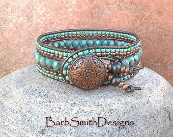 Turquoise Beaded Bracelet-Metallic Leather Cuff-Wrap Bracelet-Southwest Bracelet-Gift for Her-The Indian Princess in Turquoise n' Copper
