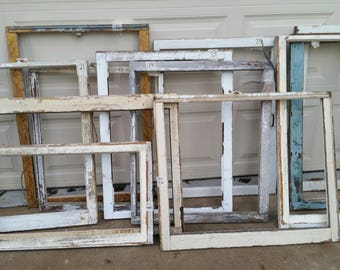 Vintage Wood Window Frames Chippy Farm House Single Pane