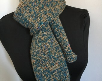 Knitted Classic Long Blue Tweed Scarf