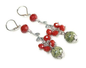 Green earrings handmade Long earrings dangle earrings for women gift ideas for mom birthday gift from daughter Prom jewelry ear rings