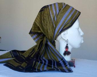 Scarf or turban in wax doubled khaki
