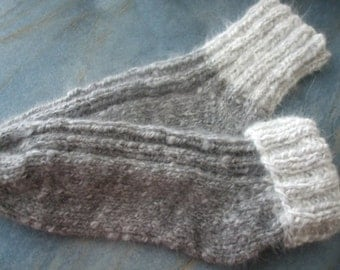 Extra thick hand-knitted Angora bed socks for at home.