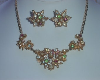 Art Deco Opal and Colored Rhinestone Demi Parure - Necklace and Earring Set