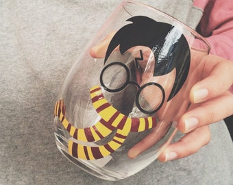 Harry P Inspired, Glasses, Scarf, Wizard, Wine Glass.