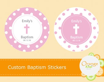 Custom Baptism Stickers, Pink Baptism Labels, Girl Baptism Stickers, Girl Christening Stickers, Holy Communion Decorations