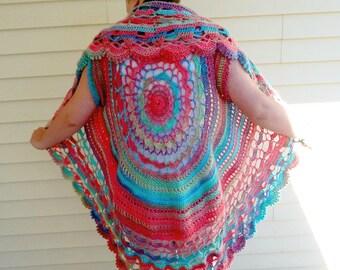 Mandala vest, Crochet vest, Circle vest, Boho jacket, Hippie vest, Festival vest, Sleeveless vest, Ladies jacket, Womens sweater, Small-3X