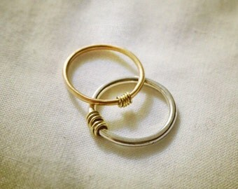 Stylish rose gold and plain gold abacus ring - made to order
