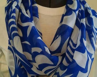 Blue and white sheer floral infinity scarf