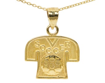 14k Yellow Gold Soccer Necklace