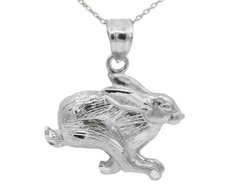 10k White Gold Rabbit Necklace
