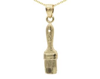 14k Yellow Gold Paintbrush Necklace