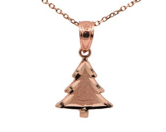 14k Rose Gold Christmas Tree Necklace