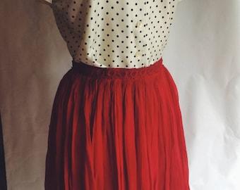 Vintage Red gathered Skirt
