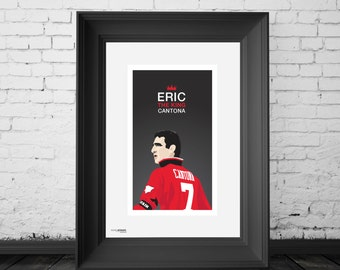 Eric Cantona, Manchester United Legend. A4,A3 and A2 Hand and Digitally Drawn Poster. By Mike Moran