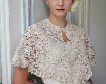 Edwardian lace cape, heavy corded lace very beautiful and unusual