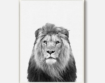 Lion Print, Safari Decor, Nursery Animal Wall Art, Lion Poster, Kids Room Printable, Instant Digital Download, Black and White Photo