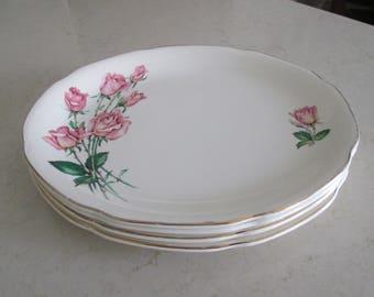Rink Rose Bouquet Dinner Plates