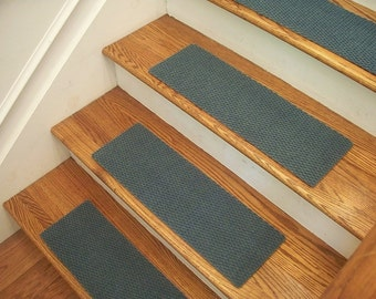 """Essential Carpet Stair Treads - Style Berber - Color Sky Blue - Size 24"""" x 8"""" - Sets of 4, 7, 13, or 15"""