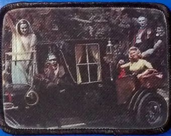 The Munsters - Full Color PATCH - Munster Koach, Herman, Lily, Grandpa, Eddie