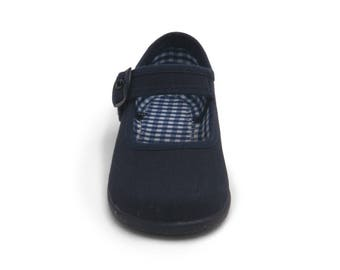 Navy Mary Janes shoes, navy canvas shoes, navy girl shoes, shoes