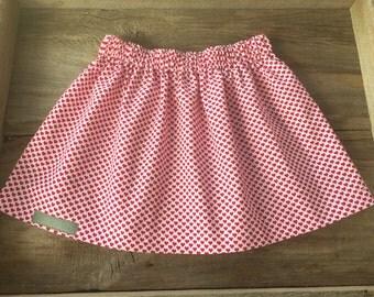 Red & white heart skirt, infant/toddler/girl skirt, handmade clothing, Valentine's Day