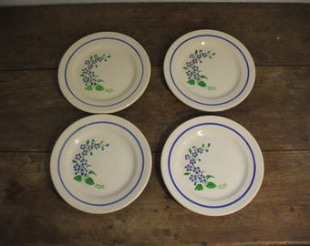 "4 plates to dessert ""Niderviller"", blue flowers decoration"