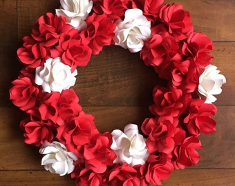 Red and White Paper Rose Wreath
