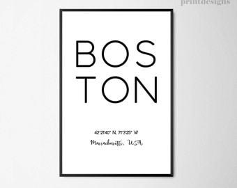 Boston Print, Boston Poster, Boston Coordinates Print, Coordinates City Poster, Minimal Boston City Print, Modern Poster Instant Download