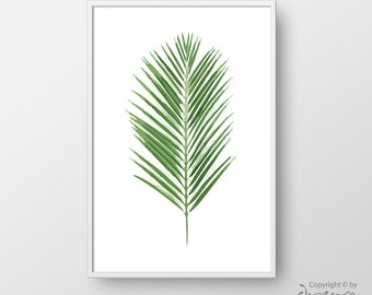 Printable Palm Tree Leaf, Botanical Print, Green Leaf Poster, Watercolor Leaf Print, Tropical Art Print, Digital Art, Modern Art Print