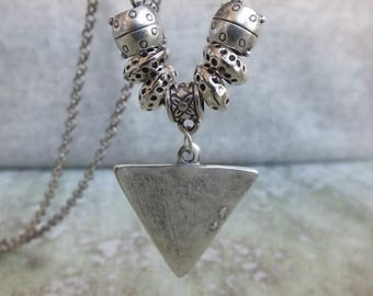 Boho silver necklace, Geometric necklace, silver tribal pendant, Everyday boho necklace,Antique Silver Triangle Necklace