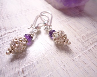 Sterling Silver Earrings Sterling Silver Ball Earring Dangle Earrings Amethyst Earrings French Hook Earrings Earwire