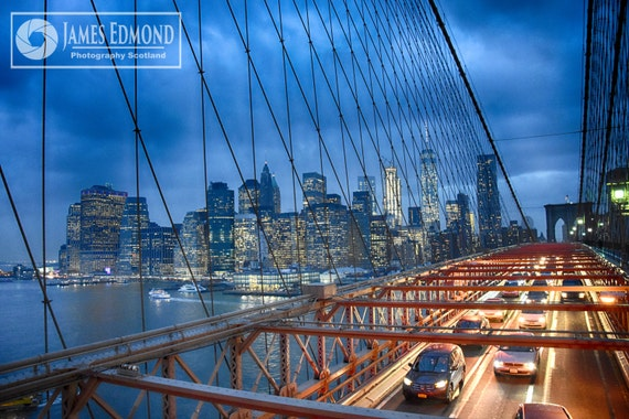 New York Digital Download, Brooklyn Bridge, New York Landscape, fine Art Photography,New York Prints, CIty Photography, Cars, Motors, Yellow