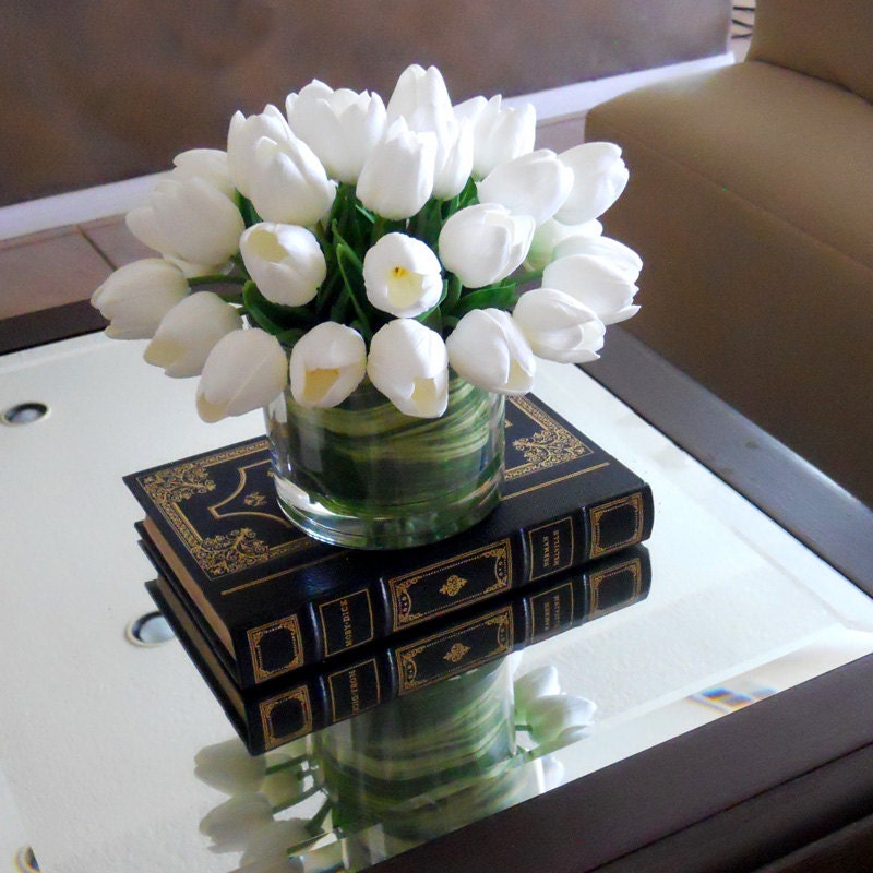 Real Touch Flowers Centerpiece-Real Touch Tulips-Floral Arrangement-White Tulips-Silk Faux Arrangement -Fake Flowers-Tulips in Acrylic Water