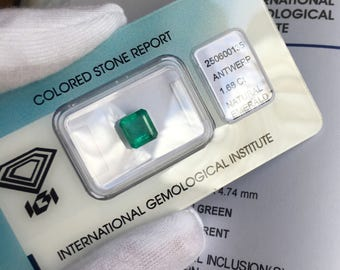 Natural Zambian Emerald 1.68ct Deep Green IGI Certified Square Cut Gem