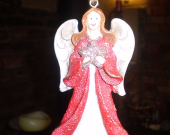 Danish Ceramic Christmas Angel with Star,Hanging tree or window decoration