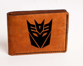 Wallet Transformers Wallet Mens Leather Wallet Transformers Wallet Bifold Decepticons Personalized Custom Wallet Gift Decepticons wallet