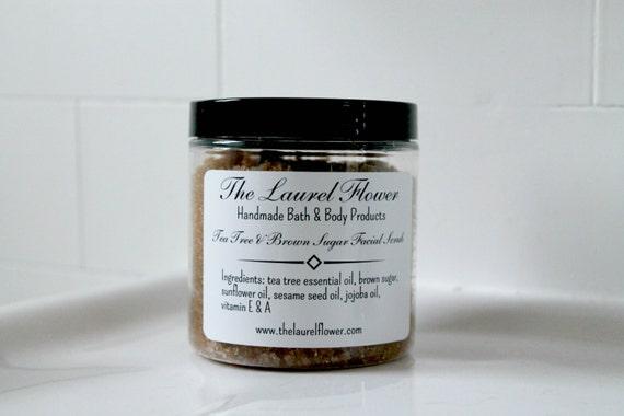 Tea Tree Brown Sugar Facial Scrub-Exfoliating Sugar Scrub-Natural Skin Care-Natural Sugar Scrub