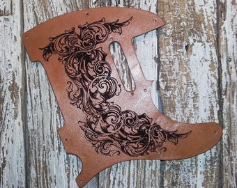 Leather Pick Guard / Leather Telecaster Pickguard / Engraved Leather Pickguard / Pickguard Telecaster