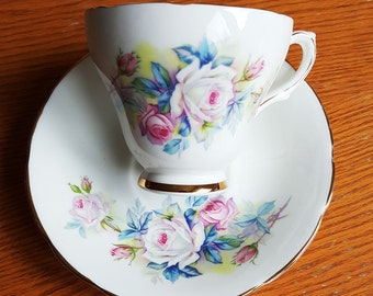 Delphine, beautiful tea cup and saucer, white, pink ,blue,  bouquets of roses,Tea Cup and Saucer, Made in England,English tea cup, tea cups