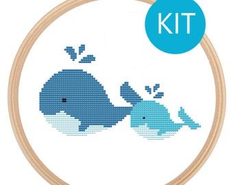 Cross Stitch Kit - Cute Animals - Mama & Baby Whales - Cross Stitch Pattern Kit