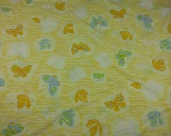 Vtg Twin flat sheet yellow butterfly Pequot 66 x 104 50/50 blue green cutter fabric